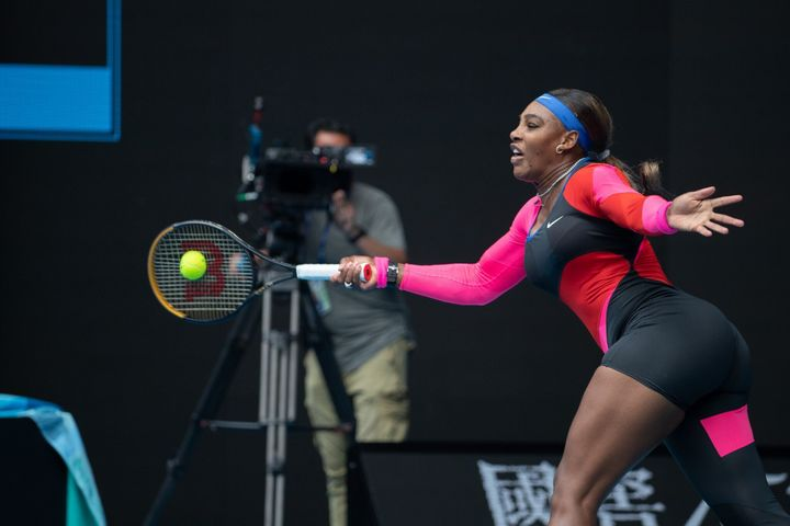 Serena Williams had one leg up on Laura Siegemund in their first-round match on Monday.