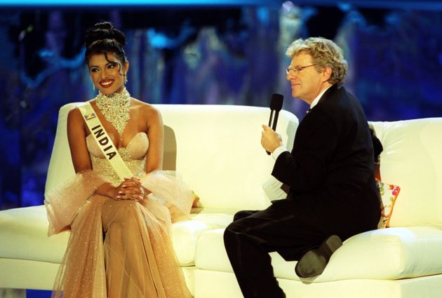 Chopra, then 18, speaks with host Jerry Springer during the Miss World 2000