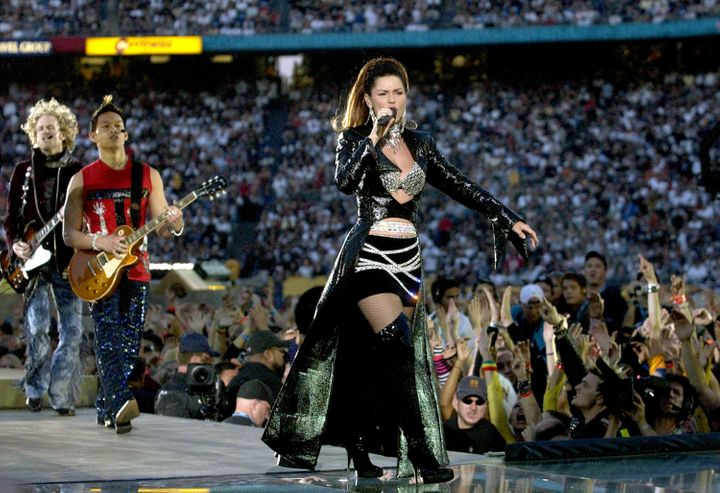 In a word: Epic. Shania Twain performs during the Super Bowl XXXVII halftime show in 2003 in San Diego, Calif.