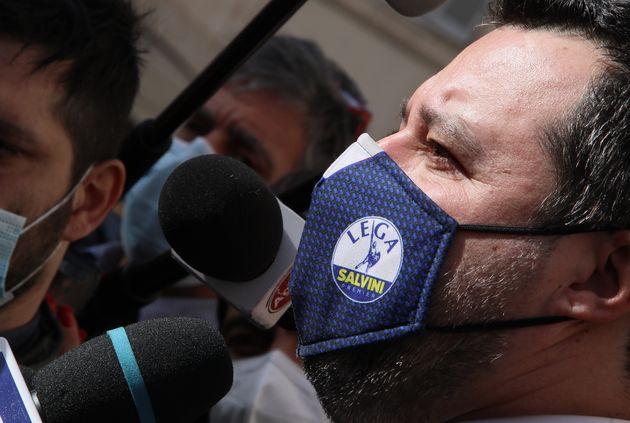 ROME, ITALY - FEBRUARY 06,2021: Head of the Lega Nord (Northern League) party and senator Matteo Salvini...