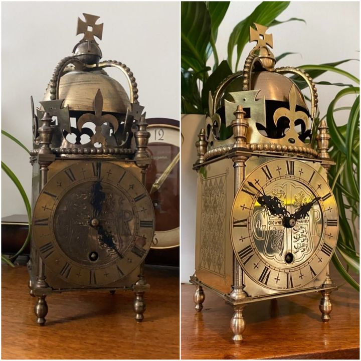One of Gothy's clock repairs, before and after.