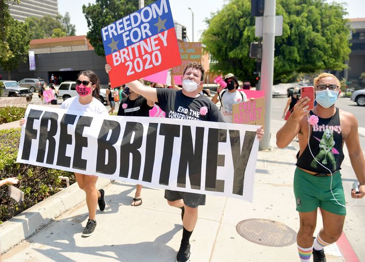 Britney Spears fans at a Free Britney rally in Los Angeles last August outside a court hearing regarding her conservatorship.