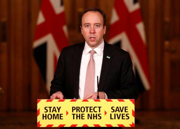 Health Secretary Matt Hancock, speaks at a coronavirus press conference inside 10 Downing Street in