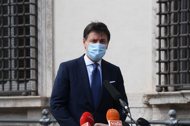 ROME, Feb. 4, 2021 -- Outgoing Italian Prime Minister Giuseppe Conte speaks at a press conference in...