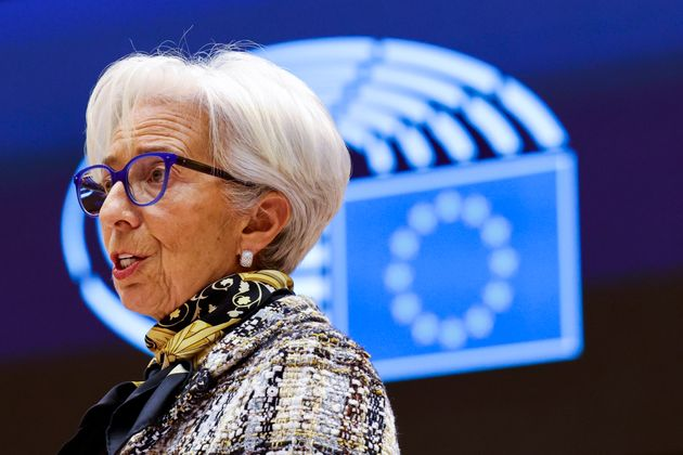 European Central Bank President Christine Lagarde addresses European lawmakers during a plenary session...