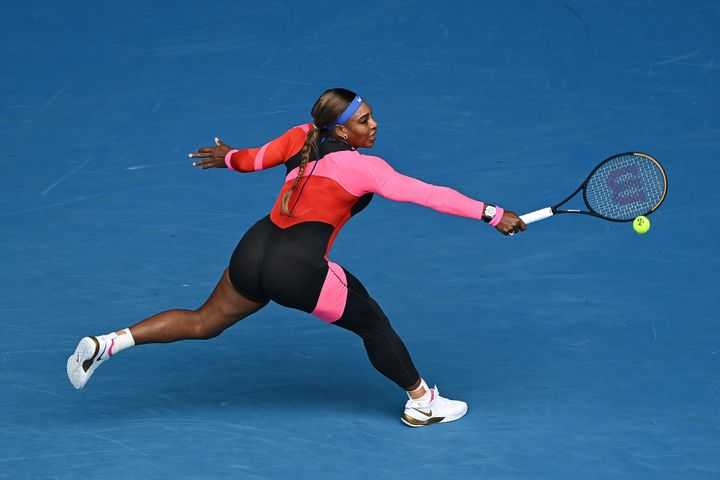 Serena Williams plays a backhand in her Women's Singles first round match against Laura Siegemund of Germany during day one of the 2021 Australian Open at Melbourne Park.