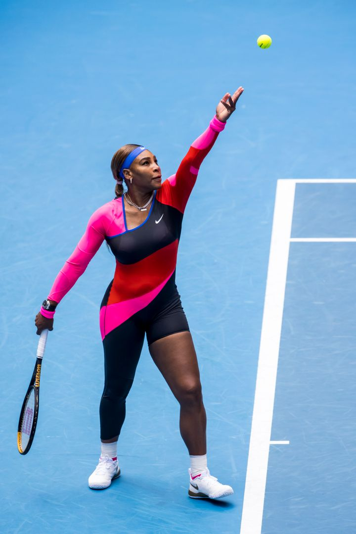 Serena Williams serves the ball during round 1 of the 2021 Australian Open.