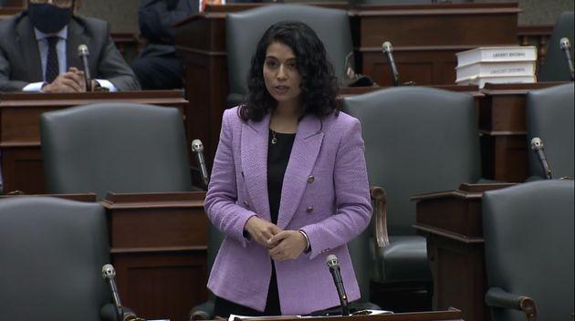 Ontario NDP deputy leader Sara Singh speaks in the legislature in Toronto on Dec. 1,