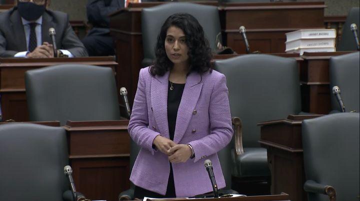 Ontario NDP deputy leader Sara Singh speaks in the legislature in Toronto on Dec. 1, 2020.