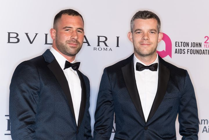 Russell Tovey (right) with boyfriend Steve Brockman in 2017.