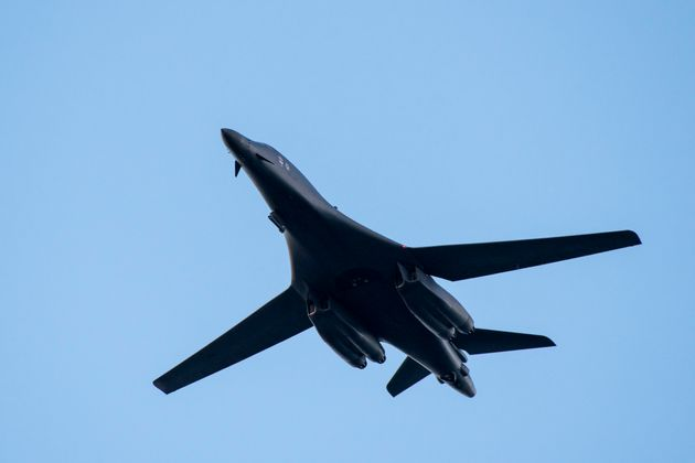 United States Air Force's Rockwell B-1 Lancer, a supersonic variable-sweep wing, heavy bomber flies during...