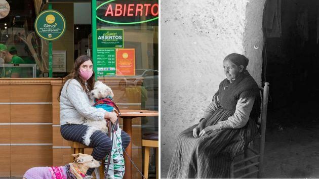 Dos mujeres sentadas. A la izquierda, en una imagen tomada en 2020 en Valencia. A la derecha, enGuadix...