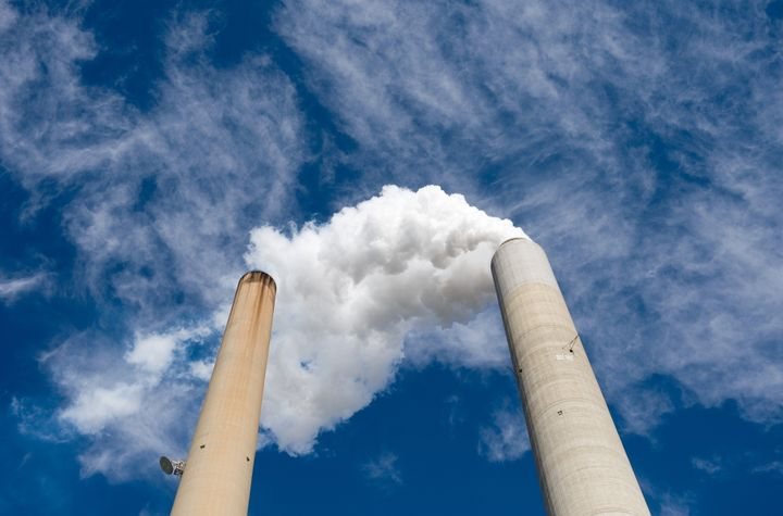 The smoke stacks at American Electric Power's Mountaineer coal power plant in New Haven, West Virginia.