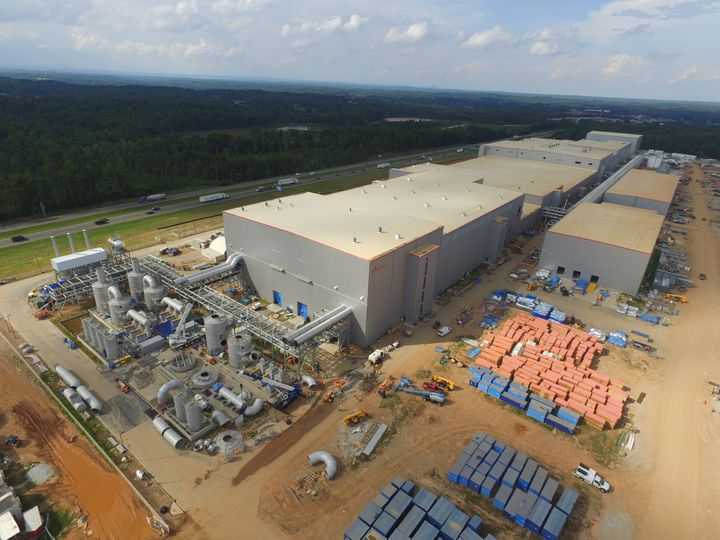 An aerial shot from 2020 of the SK Battery America site in Commerce, Georgia, shows construction already underway.