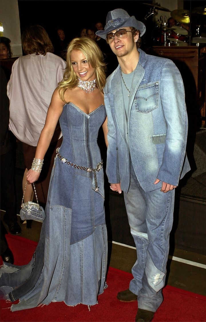 Britney Spears and Justin Timberlake arrive at the 28th Annual American Music Awards in 2001.
