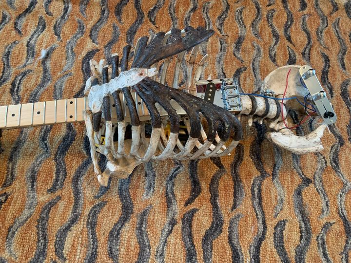 Tampa musician Prince Midnight attached his dead uncle's skeleton to a discarded Fender Telecaster.