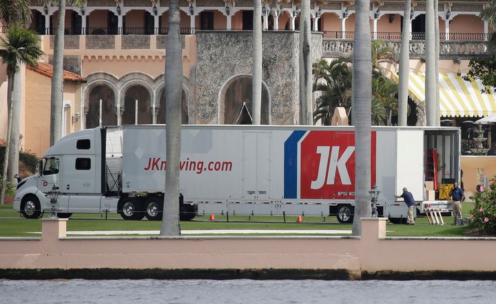 A moving truck is parked at Mar-a-Lago in Palm Beach, Florida, on Jan. 18, two days before Joe Biden's inauguration.