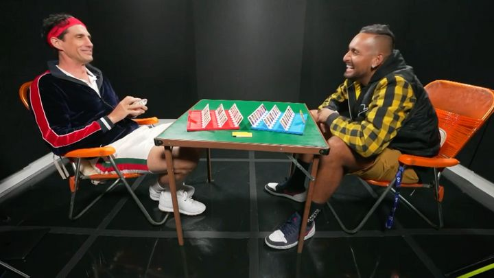 Nick Kyrgios was a guest on TV personality Andy Lee's 'Guess Whom?' miniseries.