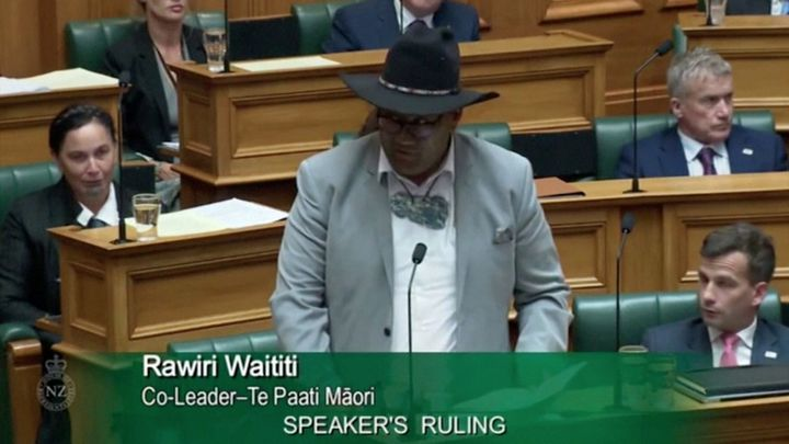 Maori Party co-leader Rawiri Waititi stands in Parliament in Wellington, New Zealand, February 9, 2021.