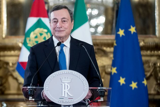 Mario Draghi appears before the press after accepting the request of the President of Italy, Sergio Mattarella, ...