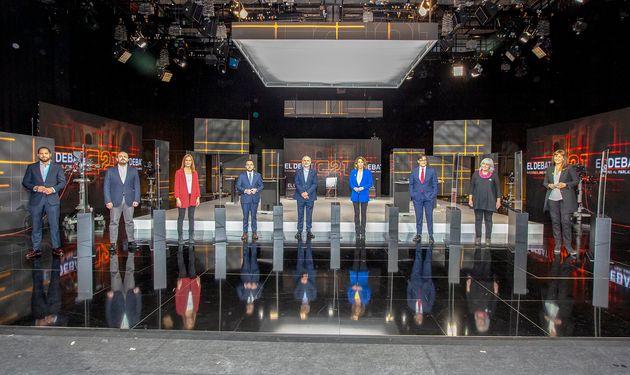 Imagen del inicio del debate electoral emitido este martes por TV3 con motivo de los comicios autonómicos