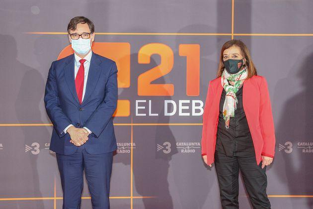 Salvador Illa, a su llegada al debate de TV3 este martes (TV3/Getty
