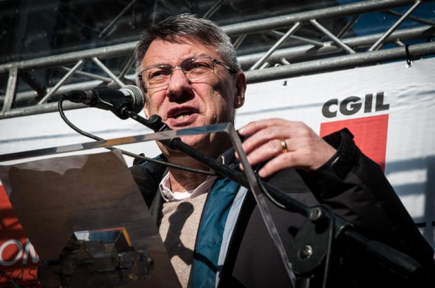 General Secretary of the trade union CGIL Maurizio Landini delivers his speech during a national demonstration...