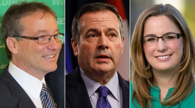 From left to right are UCP members Drew Barnes, Jason Kenney and Angela