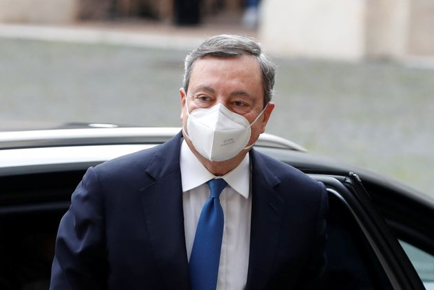 Former European Central Bank President Mario Draghi arrives for a meeting with Italian President Sergio...
