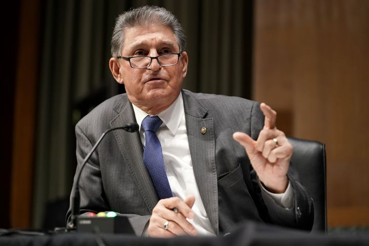 """Sen. Joe Manchin (D-W.V.) supports cutting off stimulus checks at a level progressives say is """"shockingly out of touch.""""&nbsp"""