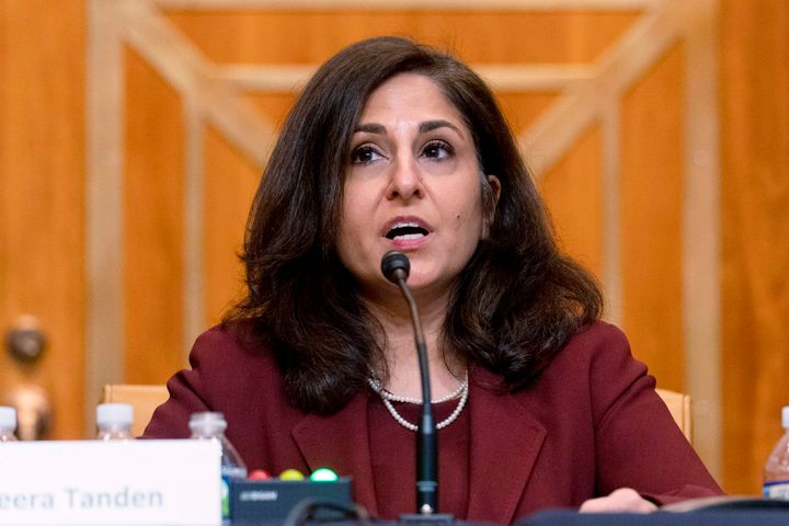 Neera Tanden testifies during a Senate Budget Committee confirmation hearing on Wednesday. She has faced questions from liber