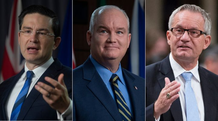 Conservative MP Pierre Poilievre, Tory Leader Erin O'Toole, and Tory MP Ed Fast are shown in a composite image of photos from The Canadian Press.