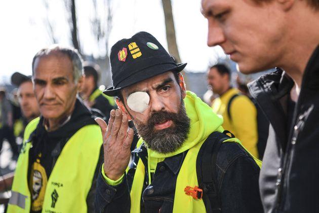 Jérôme Rodrigues le 16 février 2019 lors d'une manifestation à Paris (Photo ERIC FEFERBERG /