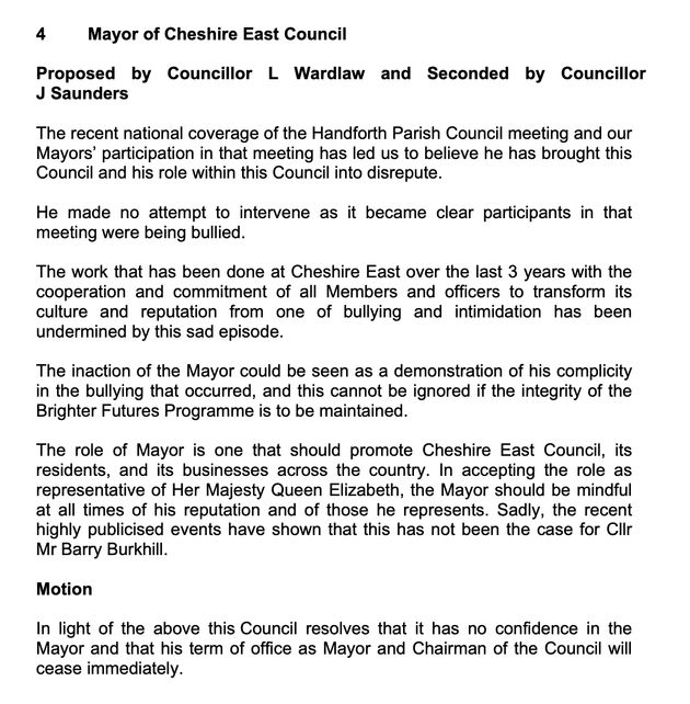 The no confidence motion in
