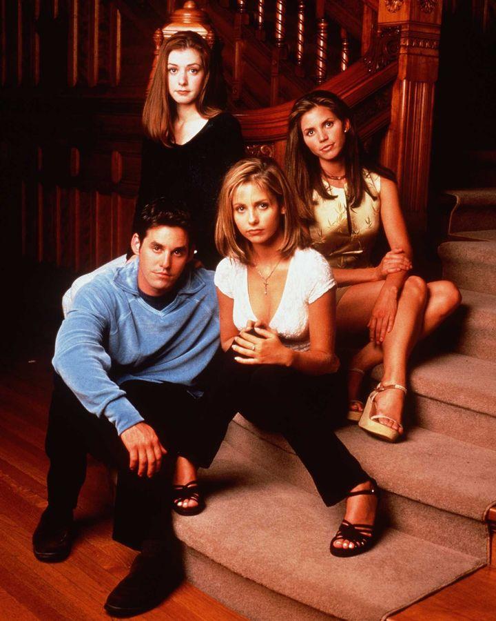 Clockwise from top left: Alyson Hannigan as Willow Rosenberg, Charisma Carpenter as Cordelia Chase, Sarah Michelle Gellar as