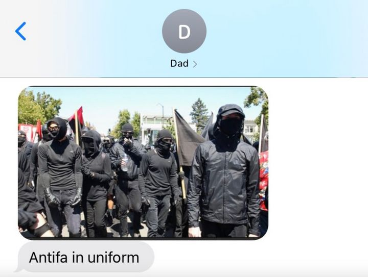 Sabrina's father texted this photo to her amid a stream of links to videos spreading conspiracy theories about antifa.