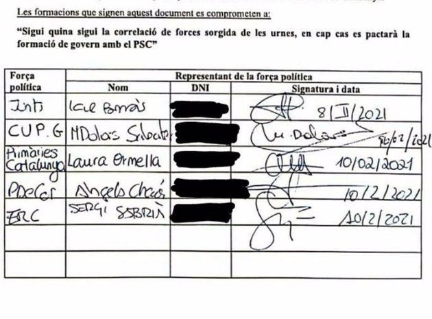 Imagen de la firma de las formaciones independentistas contra un gobierno con el