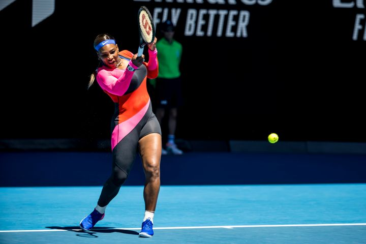 Serena Williams returns the ball during round 2 of the 2021 Australian Open on February 10 2020.