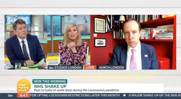Kate Garraway and Ben Shephard speak to Matt Hancock on Good Morning