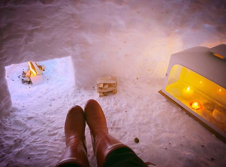 The igloo has a working fireplace (Nicola Black/PA)