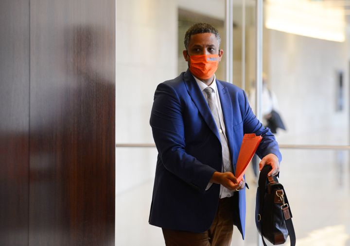 NDP Matthew Green arrives to an ethics committee in the Wellington Building in Ottawa on July 22, 2020.