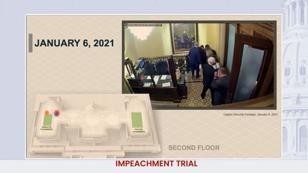 House impeachment managers used a model and US Capitol security video to show how close rioters came...
