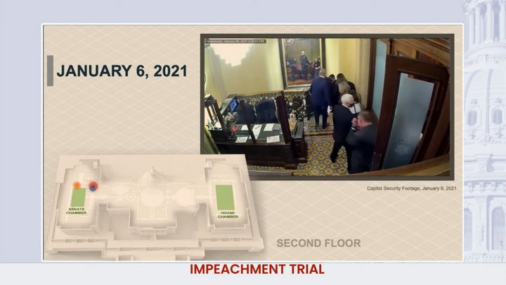 House impeachment managers used a model and U.S. Capitol security video to show how close rioters came to then-Vice President