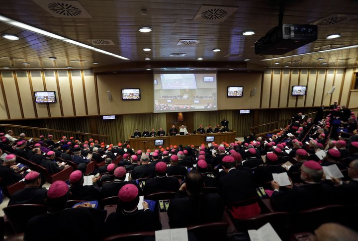 Pope Francis attends a Synod of Bishops at the Vatican on Wednesday, Oct. 3, 2018.