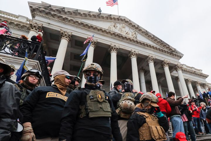 Members of the Oath Keepers militia group, including Jessica Marie Watkins (far left) at the Capitol on Jan. 6.