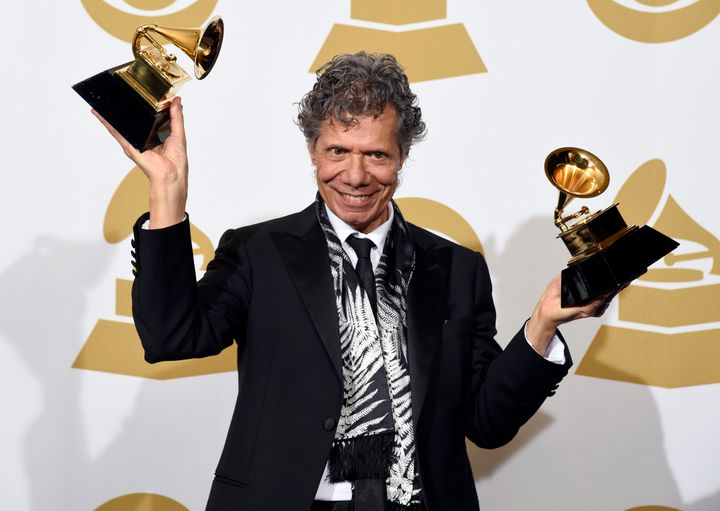 """In this 2015 file photo, Chick Corea poses in the press room after winning Grammy Awards for best-improvised jazz solo for """"F"""