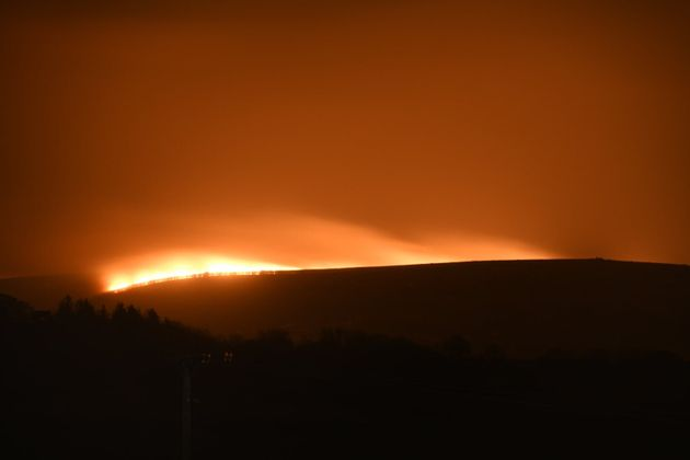 Photo taken from the Twitter feed of Benjamin Lawley of a large fire that has broken out on Dartmoor...