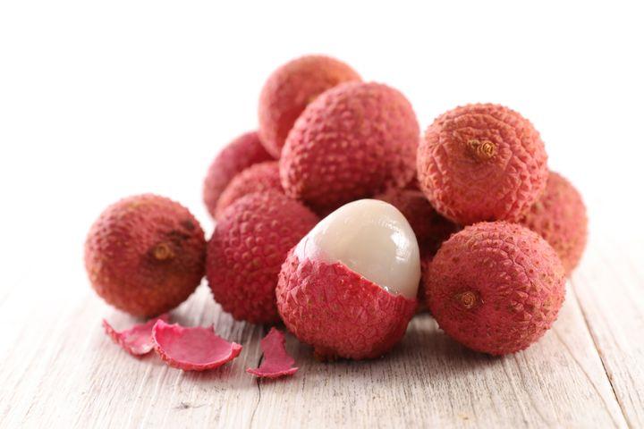 Lychee fruit, cut open