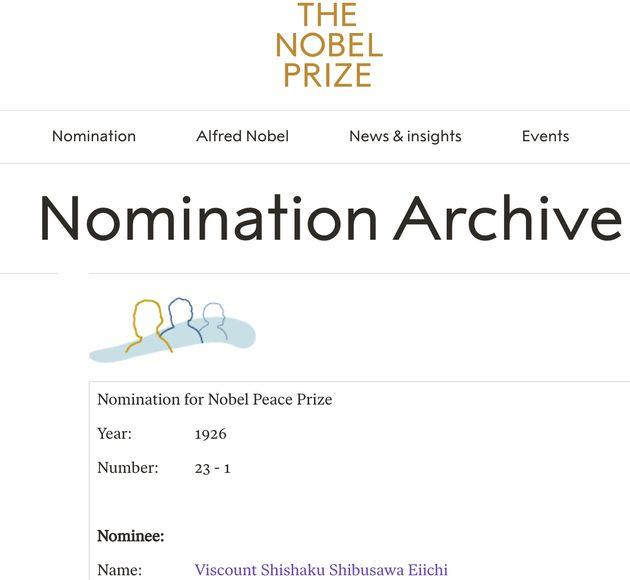 1926年と翌27年に渋沢栄一はノーベル平和賞の候補となっていた