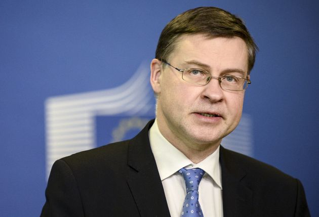 European Commission Vice-President Valdis Dombrovskis gives a joint news conference with the Ukrainian...